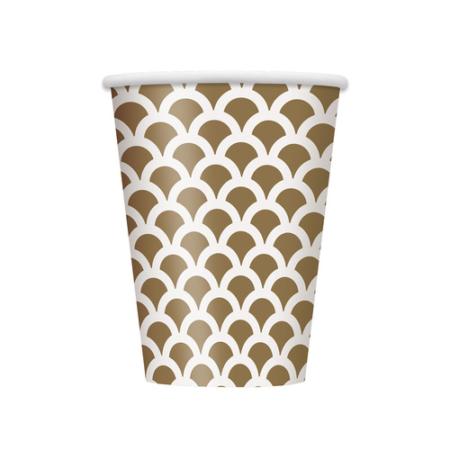 Scallop Gold Paper Cups 355ml 6 Pack
