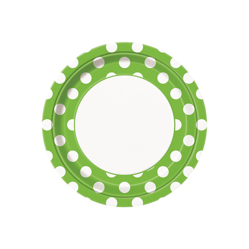 Dots Lime Green Paper Plates 22cm 8 Pack