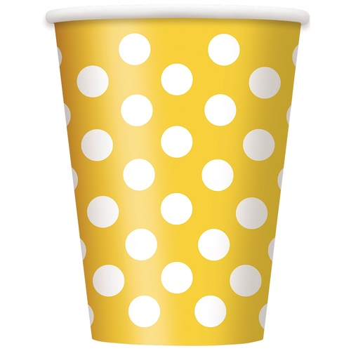 Dots Yellow Paper Cups 355ml 6 Pack