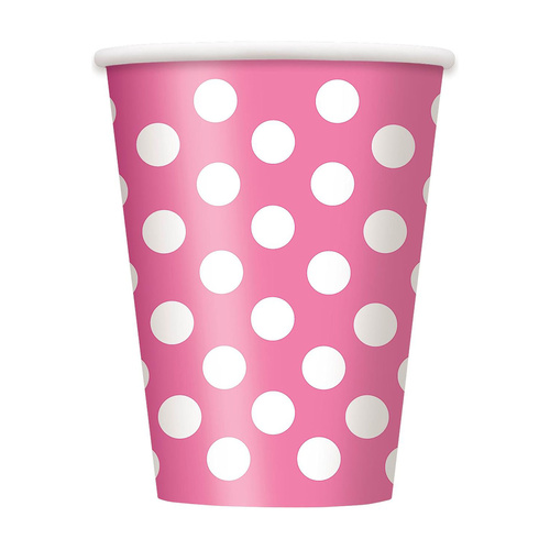Dots Hot Pink Paper Cups 355ml 6 Pack