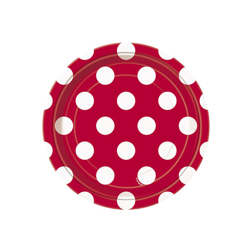 Dots Red Paper Plates 18cm 8 Pack