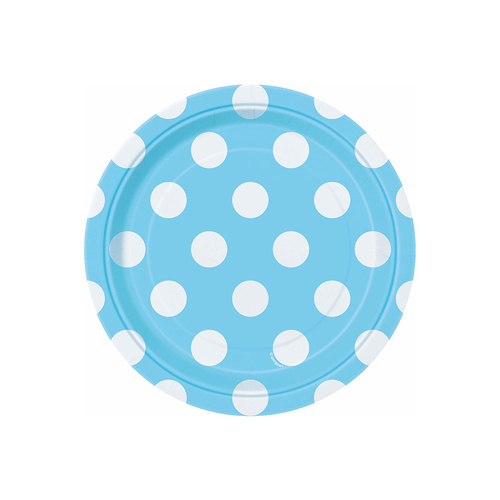 Dots Powder Blue Paper Plates 17cm 8 Pack