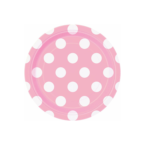 Dots Lovely Pink Pink Paper Plates 18cm 8 Pack