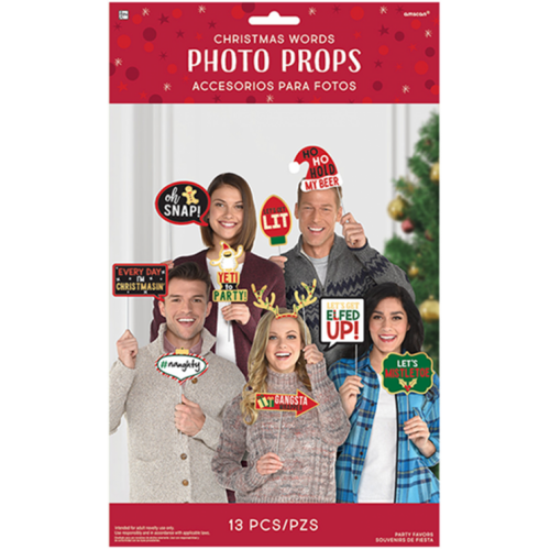 Christmas Words Signs Photo Props Kit Foil Hot Stamped
