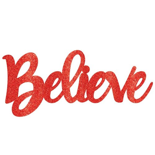 Believe Sign Red Glittered Photo Prop