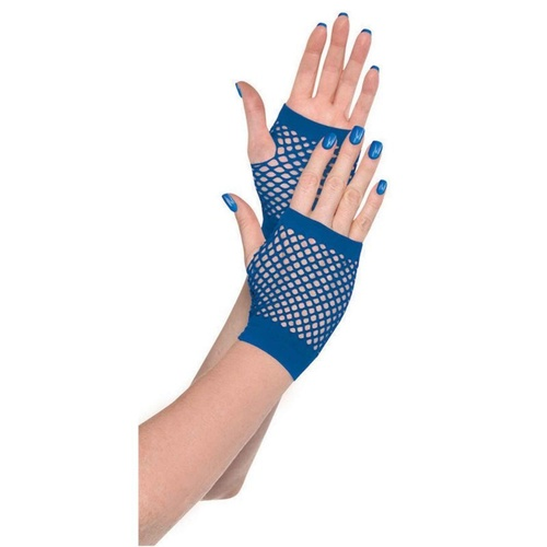 Short Fishnet Gloves - Blue
