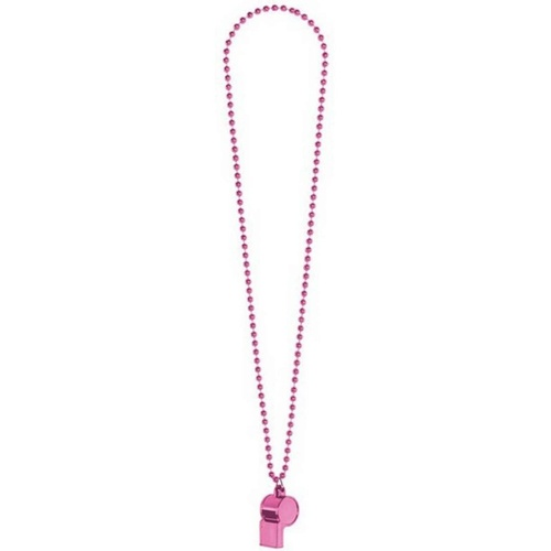 Whistle On Chain Necklace  - Pink