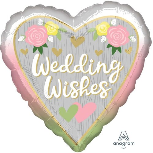 45cm Standard HX Wedding Wishes Ombre Foil Balloon