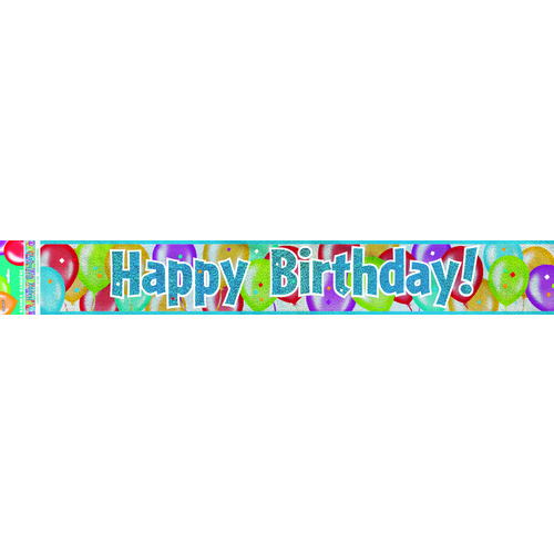 Balloon Birthday Prismatic Banner 9ft