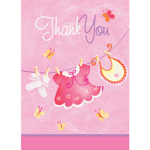Pink Clothesline 8 thankyou Note