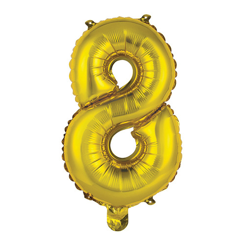 35cm Gold 8 Number Foil Balloon