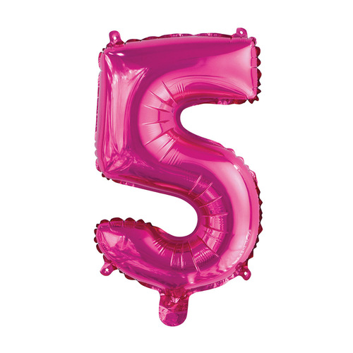 35cm Hot Pink 5 Number Foil Balloon