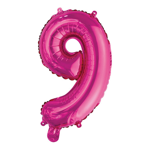 35cm Hot Pink 9 Number Foil Balloon