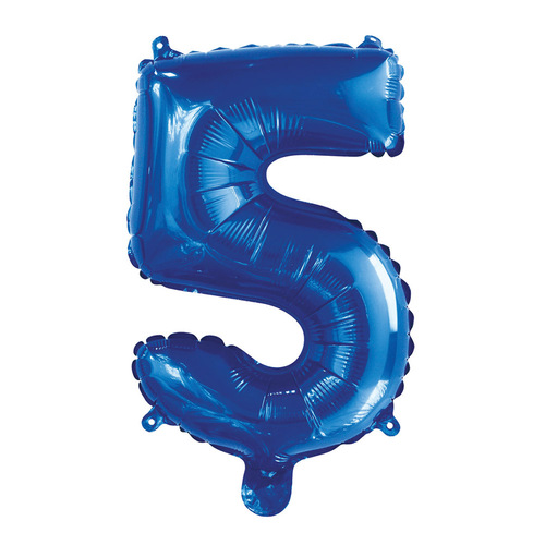 35cm Royal Blue 5 Number Foil Balloon