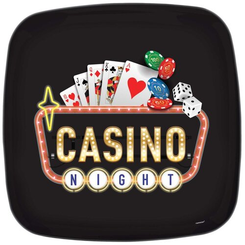 Roll The Dice Casino Plastic Platter 34cm