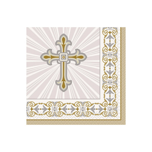 Rad Cross Gold & Silver Beverage Napkins 16 Pack