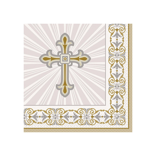 Rad Cross Gold & Silver Luncheon Napkins 16 Pack