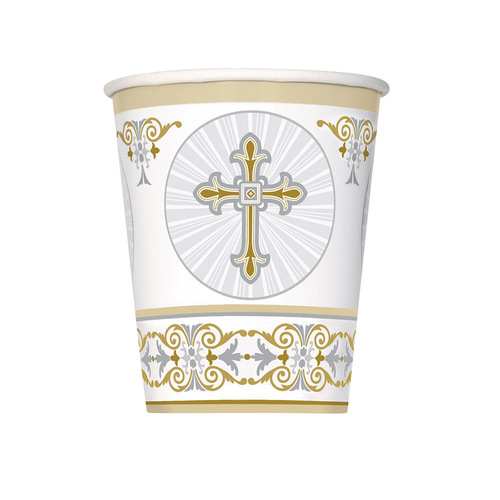 Radiant Cross Gold & Silver Paper Cups 8 Pack 270ml