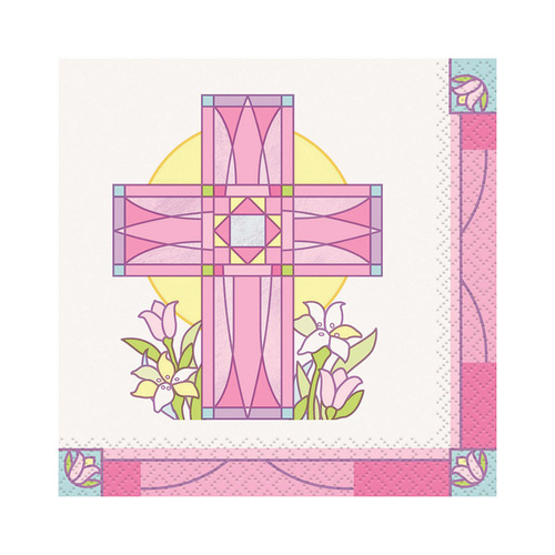 Sacred Cross pk Beverage Napkins 16 Pack