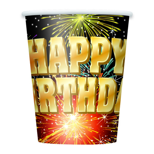 Birthday Burst 270ml 8 Pack Paper Cups