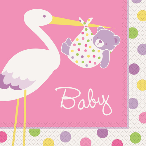 Girl stork 16 Lunch Napkins