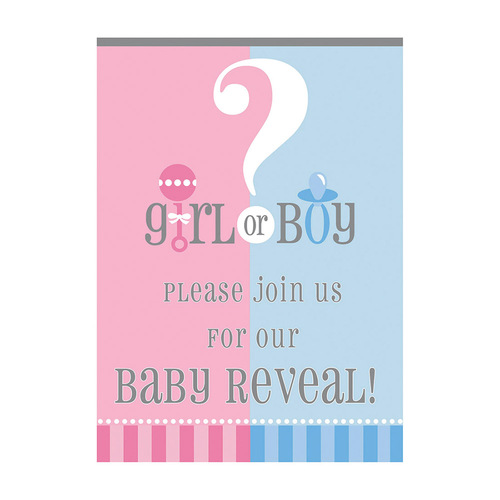 Baby Reveal 8 Invitations