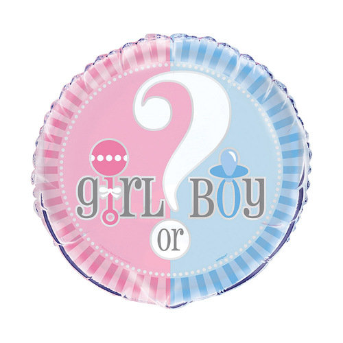 45cm Baby Reveal - Boy Or Girl Foil Balloon Packaged