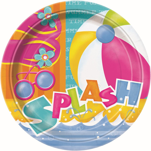 Pool Party Paper Plates 23cm 8 Pack