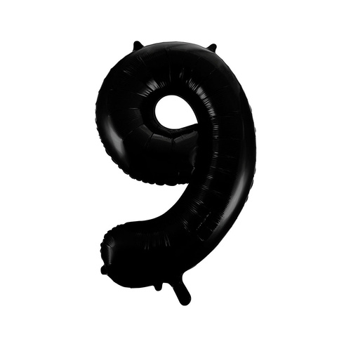 Black 9 Number Foil Balloon 86cm