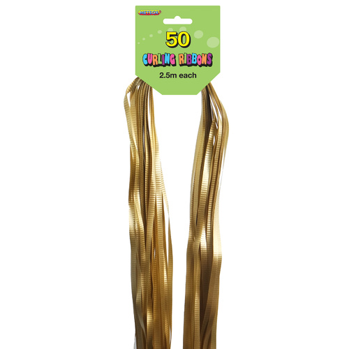 Pre-Cut Ribbons Gold 50 Pack