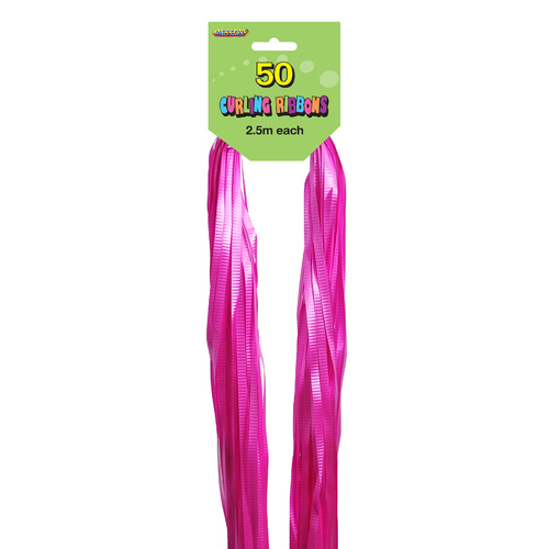 50 Cut Ribbons 2.5M Hot Pink