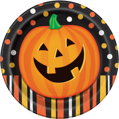 Smiling Pumpkin Paper Plates 8 Pack