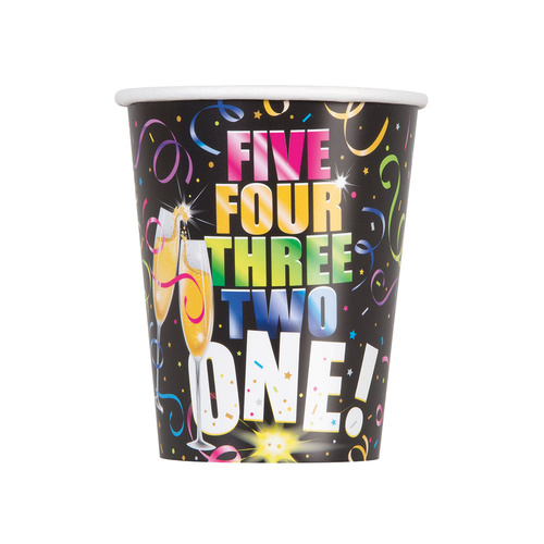 Glitzy New Year Paper Cups 8 Pack 270ml
