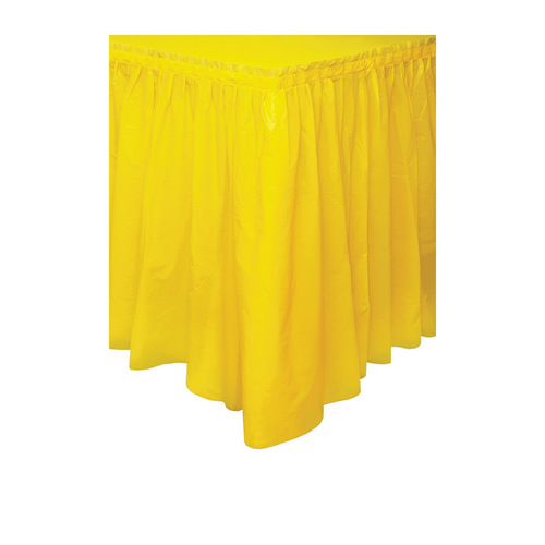 Yellow Plastic Tableskirt 37cm x 4.3m