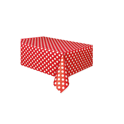 Red Dots Plastic Tablecover