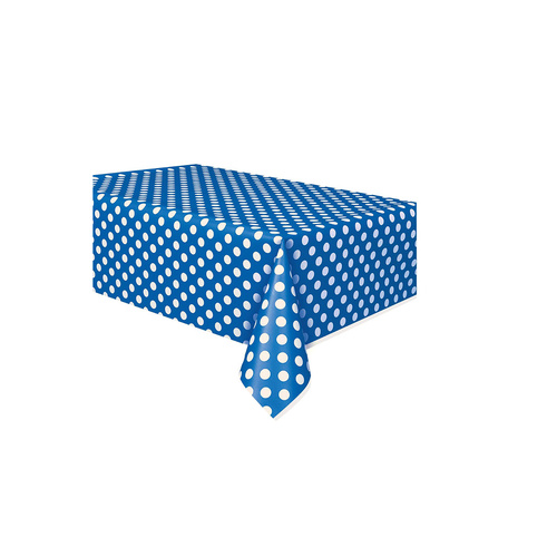 Royal Blue Dots Plastic Tablecover