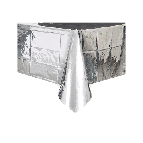 Silver Foil Plastic Tablecover Rectangle