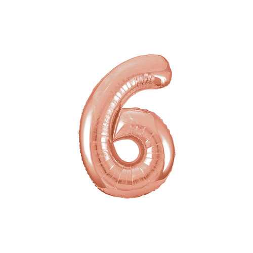 Rose Gold 6 Number Foil Balloon 86cm