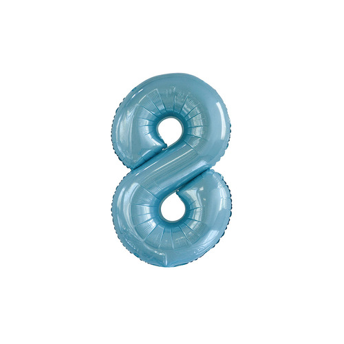 Powder Blue 8 Number Foil Balloon 86cm