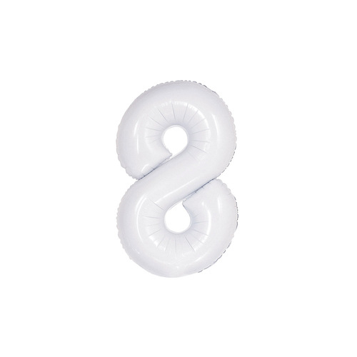 White 8 Number Foil Balloon 86cm