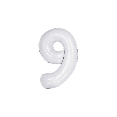White 9 Number Foil Balloon 86cm