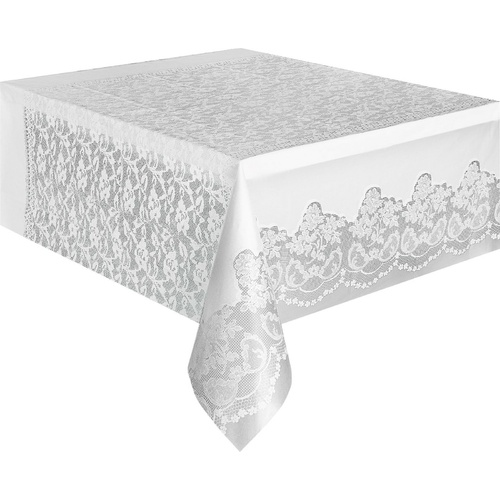 White Lace Plastic Tablecover Rectangle