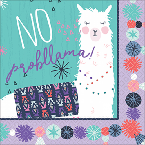 Llama Fun Lunch Napkins 16 Pack