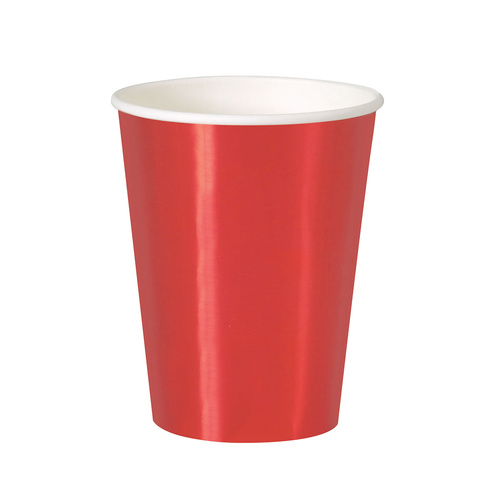 Red Foil 355ml 8 Pack Paper Cups