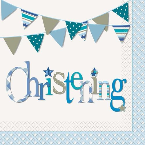 Christening Blue Luncheon Napkins 16 Pack