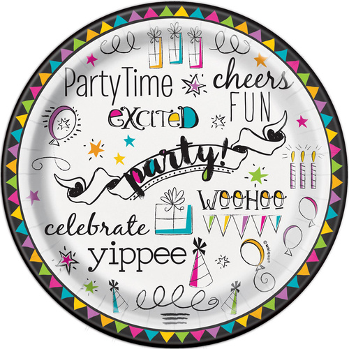 Doodle Birthday Paper Plates 18cm 8 Pack