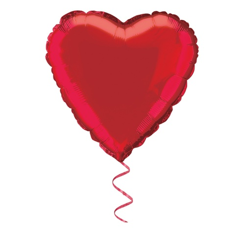 45m Red Heart Foil Balloon Packaged