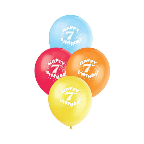 30cm 7th Birthday Printed Balloons 6 Pack