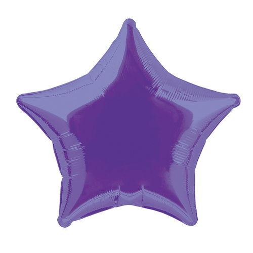 50cm Purple Star Foil Balloon Packaged