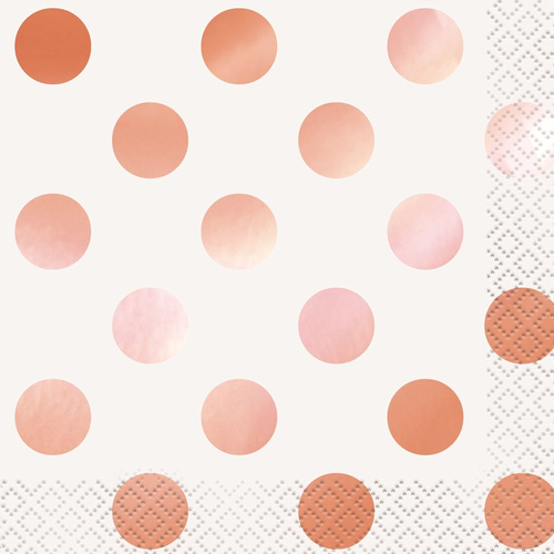 Rose Gold Foil Dots Luncheon Napkins 16 Pack